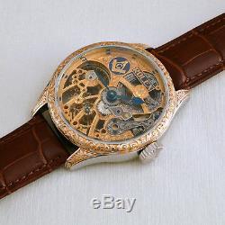 ROLEX LEVER MASONIC Maxi Skeleton HAND-ENGRAVED ART movement Pocket Watch 1920s