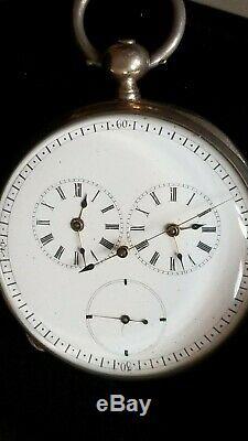 Rare Captain's Duplex Movement Pocket Watch. 950 Silver OF KW KS 50 mm Ca 1870's