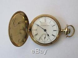 Rare J. P. Stevens Atlanta 18 Size Hunter Case Pocket Watch Aurora Made Movement
