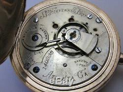 Rare J. P. Stevens Atlanta Ga 18 Size Hunter Case Pocket Watch Aurora Movement