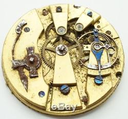 Rare Lepine Breguet Parachute High Grade duplex pocket watch movement for repair