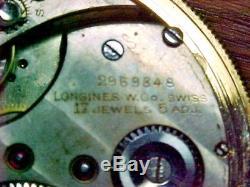 Rare Longines 50MM Open Face 14K 8 Day Winding Indicator Unusual Regulator