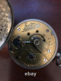 Rare Transitional 1887 Illinois 18s Pocket Watch with engraved Loco on Movement
