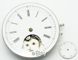 Rare Unmarked Meylan High grade pocket watch chronograph movement running