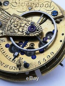 Rare WM Robinson, Liverpool Patent (Possibly Tobias) Pocket Watch Movement AB26