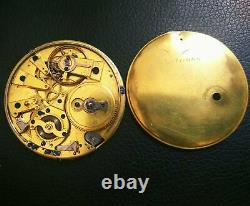 Repeater Key Wind Pocket Watch movement & dial 51 mm. In diameter balance Ok