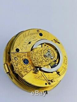 Robt Molyneux, London, Rare English Duplex Pocket Watch Movement Working (E26)