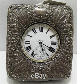 Silver Travel Case And 8 Day Nickle Pocket Watch 1920 Thin Octavina Movement