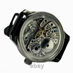 Skeleton marriage wristwatch with luxury vintage swiss pocket watch movement