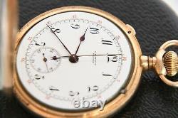 Solid 14k C. H. Meylan split second chronograph pocket watch complicated movement