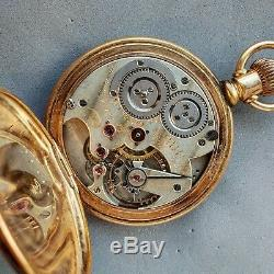 Theo Gribi antique pocket watch 1880s railroad w highgrade movement PLATED case