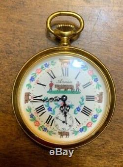 VTG ARNEX 17J SWISS MOVEMENT POCKET WATCH FANCY DIAL ORNATE COW FACE Working