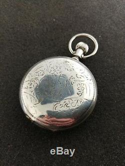 Vintage 18 Size Waltham Coin Silver Hunting Pocket Watch Running Grade 85