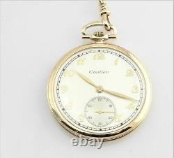 Vintage Cartier 14K Yellow Gold Watch Longines Movement on Cartier Chain #6788
