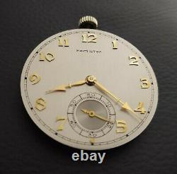 Vintage Hamilton 10 Size17Jewels 917 Pocket Watch Movement Running Mint Dial