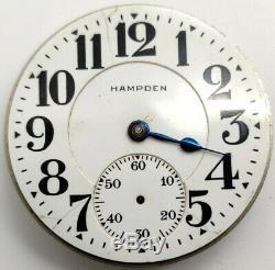 Vintage Hampden New Railway 21 Jewel 16s RR pocket watch movement for repair