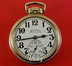 Vintage Illinois Pocket Watch Bunn Special 161 60 Hour On Dial & Movement 21 J