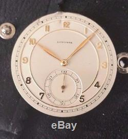 Vintage Longines Open Face Pocket Watch Movement Grade 18.89 Abc Running Strong