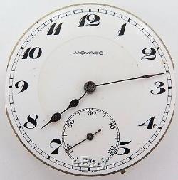 Vintage Movado 15j 4 Adjusts 42.9mm Slim Line Pocket Watch Movement & Dial