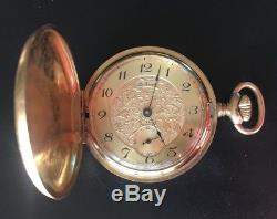 Vintage NOS 1960s Le Gran Signed Gold Hunter Pocket Watch Unitas 6498 Movement