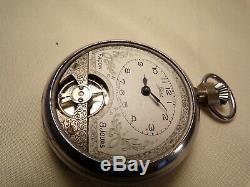 Vintage Pocket Watch Swiss Facon Basis Open Escapement Movement Runs Rare