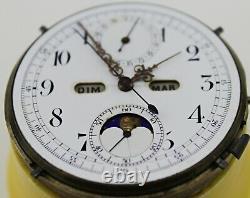 Vintage Quarter Repeater Full Calendar Moonphase Pocket Watch Movement
