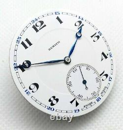 Vintage Rare Movement Zenith Pocket Watch Original Hands and Dial