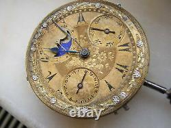 Vintage Rare Triple Date Moonphase Ottoman Pocket Watch Movement Circa 1900
