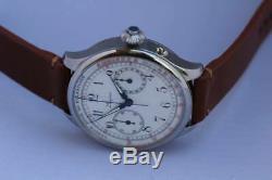 Vintage chronograph pocket watch movement Longines cal 19.73N porcelain dial