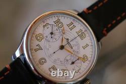Vintage military style chronograph pocket watch movement Minerva