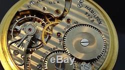 Vintage10k Gold filled hamilton 992B Railroad Grade Pocket Watch 6 position 21J