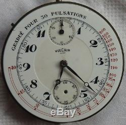 Vulcain chronograph pocket watch movement & enamel dial 45,5 mm. Stem to 12