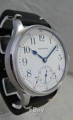 Waltham 12s Pocket Marriage Watch Conversion 44mm SS Wrist Watch 1908 Movement