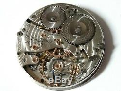 Waltham 16 size Riverside 19 Jewel Hunter pocket watch movement. For Repair
