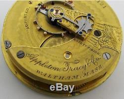 Waltham 1883 Appleton Tracy Pocket Watch 18s 15 j. Adj. Gold Plated movement