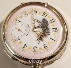 Waltham 18S. 15 jewels adj. Mint super fancy dial frosted movement (1889)
