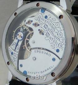Waltham 6s Pocket Watch Conversion 41mm SS Marriage Wrist Watch 1893 Movement