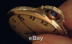 Waltham Platinum Opera Pocket Watch With 65 Diamonds & Ruby Movement With Box