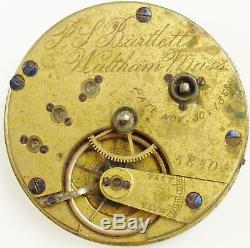 Waltham Pocket Watch Movement P. S. Bartlett Spare Parts / Repair