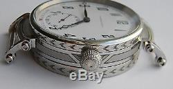 Wristwatch Case For Pocket Watch Movement With Mineral Crystals, Engraved