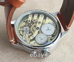 Wristwatch with VINTAGE Pocket Watch Movement c. 65 by IWC Schaffhausen
