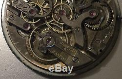 XFine Chronograph Pocket Watch movement & enamel dial 47 mm. In diameter