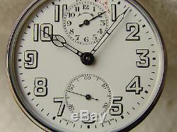 ZENITH ALARM COMPLICATION VINTAGE POCKET WATCH MOVEMENT p-1920 PORCELAIN DIAL