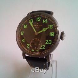 ZENITH Extremely Rare 24H Marriage Pocket Watch Movement Military Style Lume