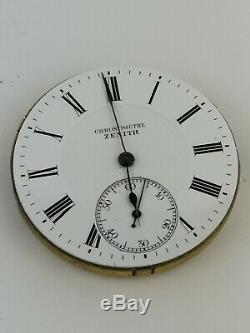 Zenith Chronometer Pocket Watch Movement for Parts or Repair Good Balance D98